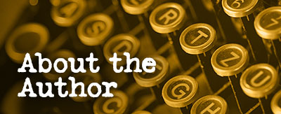 About the Author graphic with classic typewriter keys